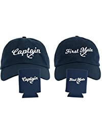 Captain & First Mate | Matching Baseball Caps and Beer Can Holder