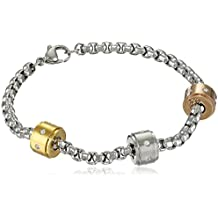 Ladies Stainless Steel Tricolor Charm Bracelet with Crystals with 18kt Gold Plating, 18kt Rose Gold Plating