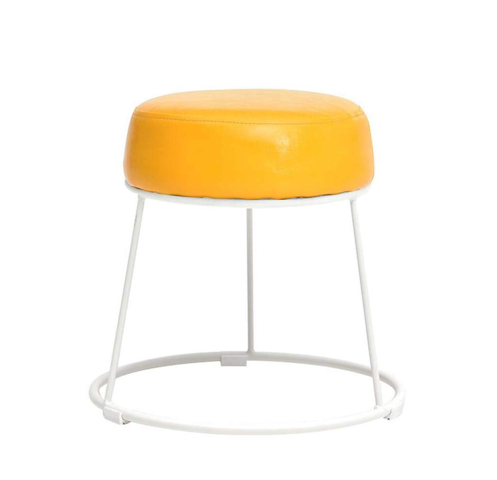 A XRFHZT Home Stool Wrought Iron Stool Leather Art Bench Creative Dining Stool Simple Dining Table Stool Fashion Round Stool Makeup Stool,A