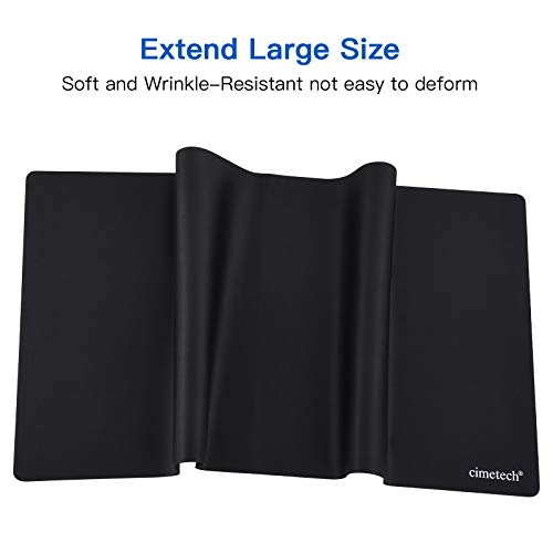 cimetech Gaming Mouse Pad XXL Comfortable Superfine Fiber Desktop Extended Large Mouse Pad Waterproof Keyboard Mat with Non-Slip Base, Smooth Surface for Computer and Desk (25.3✖12.4✖0.04inches)-Black
