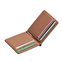 ABC® Mens New Fsahion Leather Silver Money Clip Slim Wallets ID Card Credit Card Holder
