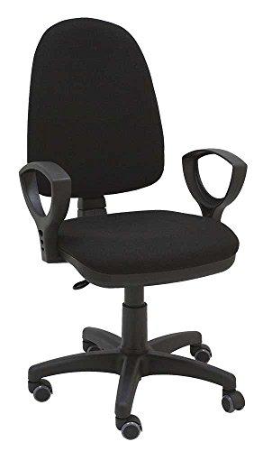 La Silla de Claudia - Silla giratoria Torino negro ergonomica resposabrazos y asiento ajustable con ruedas de parquet y contacto permanente