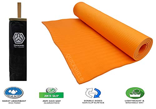 Quickshel yoga mat with carrying bag anti skid Yogamat for gym workout and flooring exercise Long Size Yoga mat for men women Price & Reviews