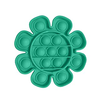 Silicone Push Pop Pop Bubble Sensory Fidget Toy Extrusion Push Bubble Fidget Sensory Toy, Autism Special Needs Stress Reliever, Anxiety Relief Toys for Adults and Children #15 Flower shape-Green