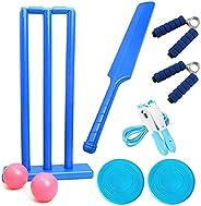 Heavy-Duty Plastic Cricket Set Include 1 Bats 2 Balls 1 Bases 3 Stumps for Indoor & Outdoor Beach