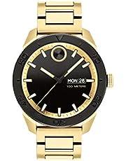 Movado Bold, Ionic Gold Plated Steel Case, Black Dial, Gold Plated Steel Bracelet, Men, 3600605