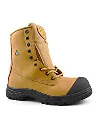 "Tiger Men's Safety Boots Titanium Steel Toe CSA Approved Lightweight 8"" Leather Work Boots 3088"