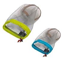 MonkeyJack 2 Pieces Small + Large Ultra-light Drawstring Mesh Stuff Sack Clothes Storage Bag Travel Sports Beach