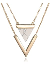 Shoopic Marble Triangle Necklace Golden Circle Coin Stud Earrings for Women
