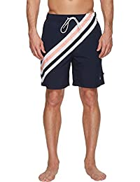 Men's Quick Dry Full Elastic Waist Striped Swim Trunk