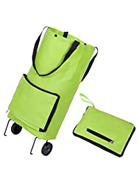 Shopping Cart Bag Portable Folding Grocery Bag Utility Collapsible Shopping Cart Bag with Hand-Straps and Wheels Green