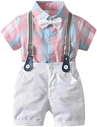 3af860a81 Baby Boys Gentleman Outfits Suits, Infant Short Sleeve Shirt+Bib Pants+Bow  Tie