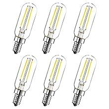 Attaljus E12 LED Candelabra Light Bulbs, 2W 120V Small Edison Light Bulb, T6 T25 Tubular Shape 200LM, 20W Incandescent Replacement, 6000K Daylight, 6PCS