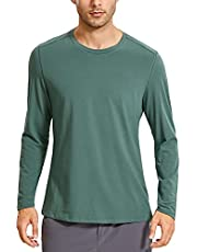 CRZ YOGA Men's Lightweight Pima Cotton Long Sleeve T-Shirts Loose Fit Fashion Casual Workout Tees