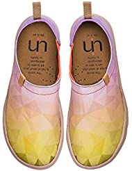 UIN Womens Sunshine Printed Canvas Loafer Shoe Light Yellow