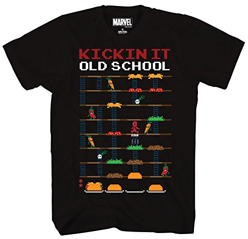 Marvel+Comics+Retro+Shirt Products : Deadpool 8 Bit Video Game Kickin It Old School Taco Adult Mens T-shirt Black