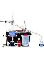 Kit de destilación de aceites esenciales. De vidrio. Equipo completo con embudo de decantación y tubo refrigerante. Para destilar y purificar agua, 500ml, 200