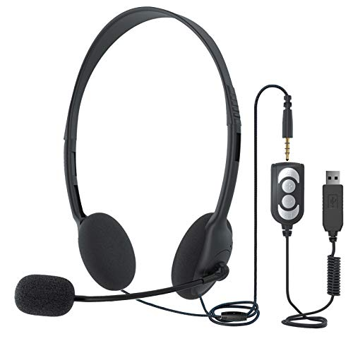 EBODA USB Headset / 3.5mm Computer Headsets with Microphone, Lightweight Noise Cancelling in-line Control Headphones for Skype Webinar Cell Phone Call Center