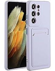 Molg Hoesje voor Samsung Galaxy S21 Ultra 5G [Screen Protector] Ultradunne Zachte TPU Siliconen Shock Proof Bumperafdekking Met Kaartsleuf Beschermhoesje-Purper