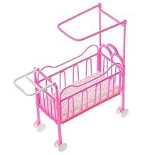 MonkeyJack Pink Baby Crib Bedroom Furniture Dolls Accessory for 4inch Barbie Kelly Dolls