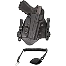 """Ultimate Arms Gear Comp-Tac MTAC Walther PPQ/M2 4"""" Inside The Waistband Kydex & Leather Hybrid Concealed Carry Gun Holster, Right + 1.50"""" Standard Belt Clips Coiled Pistol Lanyard"""