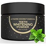 Charcoal Teeth Whitening Natural Activated Coconut Charcoal Powder, Teeth Whitener Remove Coffee Cigarette Wine Stains, Non Abrasive Safe for Enamel, Whitening Teeth Peppermint Flavor 2.11 oz