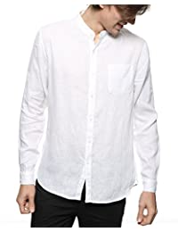 Men's 100% Linen Long Sleeve Band Collar Casual Beach Shirt Regular Fit for Groom on Casual Weddings