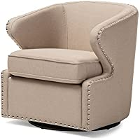 Baxton Studio Finley Mid Century Modern Fabric Upholstered Swivel Armchair, Beige