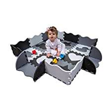 Wee Giggles Non-Toxic, Extra Thick Foam Floor Play Mat for Tummy Time and Crawling, (122 x 122 cm)(Black/White)