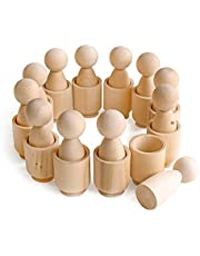 Ulanik Doe-het-zelf Ongeschilderde Peg Poppen in Cups Montessori Speelgoed Houten Sorteerspel 12 kabouters 85 mm Leeftijd 3+ Sorteren en tellen Peg Poppen Voorschoolse Leeronderwijs