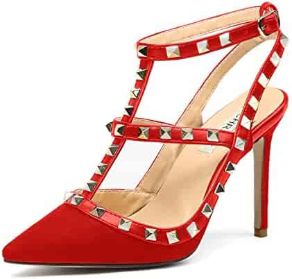 5ac266713cf Chris-T Women Pointed Toe High Heels Studded Strappy Slingback Stilettos  Leather Sandals Pumps 4