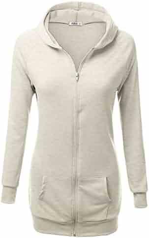 09a456d30cd JJ Perfection Women's Long Sleeve Zip Up Slim Fit Raglan Hooded Jacket