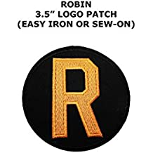 "Superheroes DC Comics Robin Classic Logo 4"" Embroidered Iron/Sew-on Applique Patches"