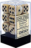 Chessex Dice d6 Sets: Marble Ivory with Black - 16mm Six Sided Die (12) Block of Dice (1-Pack)