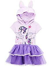 My Little Pony Girls LJSTE43-5T56 Twilight Sparkle Toddler Girls' Costume Ruffle Dress Short Sleeve Casual Dress - Purple