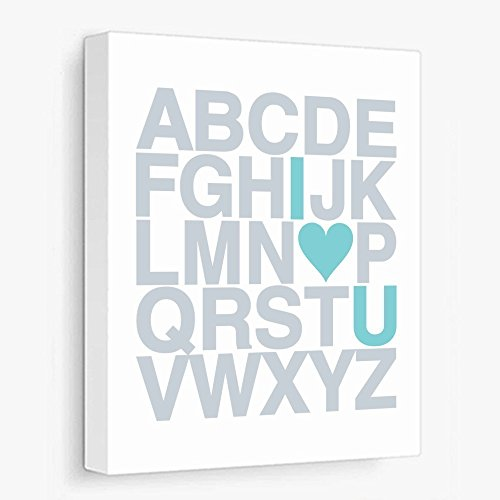 Canvas Wrap Art Publish, I Love You Alphabet ABC, Teal and Grey (Ready to Hang, Many Sizes)
