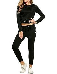 Two-Piece Jumpsuit, Long Sleeve Print Sweatshirt and Sweat Pants Sportswear Sweat Suits Crop Top Drawstrings Tracksuit