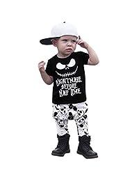 GoodLock Baby Boys Girls Clothes Set Toddler Infant Letter Cartoon Print Tops Pants Outfits 2Pcs