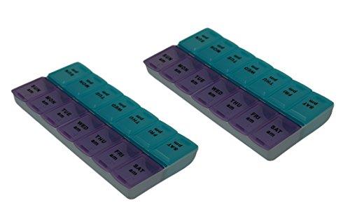 Pill Organizer AM/PM Window Pill Box, 2 Pack