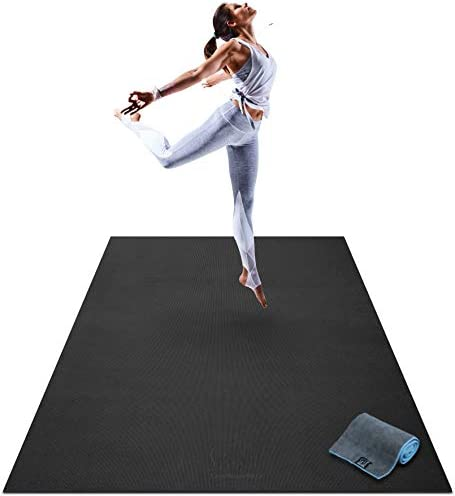 "Premium Large Yoga Mat - 6' x 4' x 8mm Extra Thick & Comfortable, Non-Toxic, Non-Slip, Barefoot Exercise Mat - Yoga, Stretching, Cardio Workout Mats for Home Gym Flooring (72"" Long x 48"" Wide)"