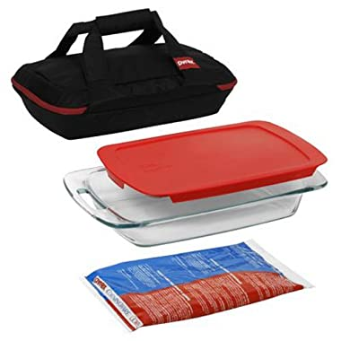 Pyrex Portables Glass Baking Dish Set (Black Carrier, 4-Piece BPA-free)
