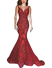 Womens Sheer Mermaid Sequined Formal Evening Gown Party Prom Dresses