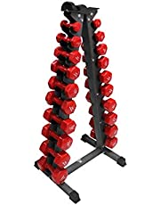 مجموعة أثقال رياضية من ليدر أحمر 1 كجم حتى 10 كجم (الدراجة غير متضمنة)، DUMBBELLSKZ22-RED