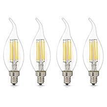 4Packs Dimmable Bent Tip 4 Watt C35 E12 LED Chandelier Light Bulbs 2700K 360 Degree Omni-direction Candelabra 450 Lumens 40W Incandescent Equivalent Replacement