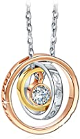 PAULINE & MORGEN Mom I Love You Engraved Necklace for Women Tricolor Ring Pendant Made with Swarovski Crystals, Jewellery Gift Box, Nickel-free Passed SGS Test, 45+5cm