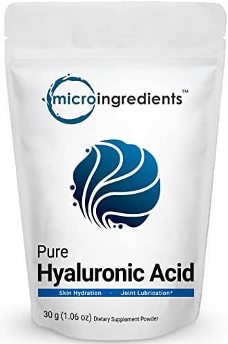 Pure Hyaluronic Acid Powder, Making Anti-Aging Serum, Powerfully Support Antioxidant, Internal Hydration & Joint Health, 30 Grams. Non-Irradiated, Non-Contaminated, Non-GMO and Vegan Friendly