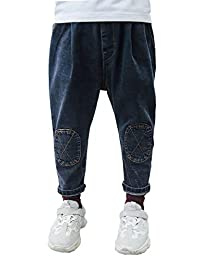 Kidscool Space Oval Patchwork Front Casual Stretchy Cotton Jeans