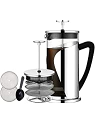 French Press Coffee Maker, Bebeke 34oz Coffee and Tea Makers with 4 Level Filtration System, BPA Free, FDA Approved, Heat Resistant Borosilicate Glass Coffeepot, 304 Grade Stainless Steel French Press