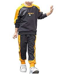 Boys Kids Sports Set Hip-hop Fashion Tracksuits Sweatshirt Pullover Pants Outfit