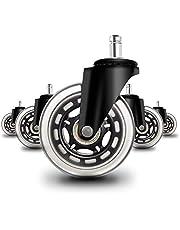 Ruote Girevoli per Sedia di Ufficio Sostituzione della Ruota di ruote per sedia da ufficio, rotelle silenziose perfette per pavimenti in legno tappeti laminato e piastrelle Set di 5